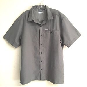 Columbia micro check button front shirt L